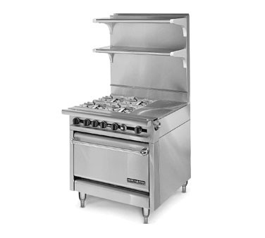 "American Range HD34-1HT-4-O Medallion Series 34"" Heavy Duty Range with Hot Top and Four Open Burners and Storage Base"
