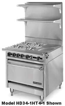 """American Range HD34-23TG-2-1 Medallion Series 34"""" Heavy Duty Range with 23"""" Griddle and 2 Open Burners and Standard Oven"""
