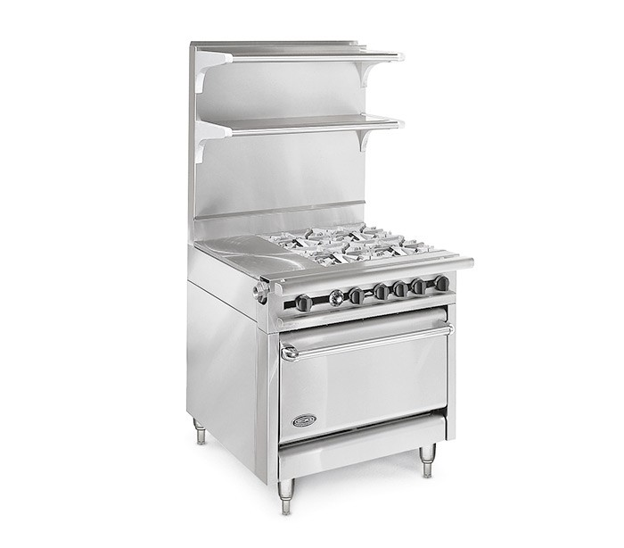 "American Range HD34-23TG-2-O Medallion Series 34"" Heavy Duty Range with 23"" Thermostatic Griddle and 2 Open Burners and Storage Base"