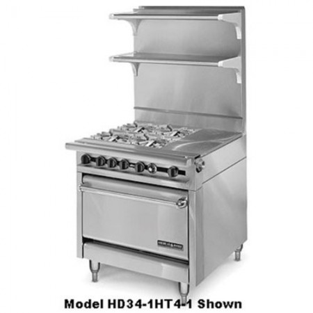 "American Range HD34-23VG-1HT-1C Medallion Series 34"" Heavy Duty Range with 23"" Griddle and 11"" Even-Heat Hot Top and Convection Oven"