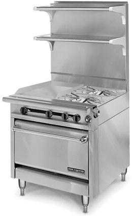 """American Range HD34-23VG-2-1C Medallion Series 34"""" Heavy Duty Range with 23"""" Griddle and 2 Open Burners and Convection Oven"""