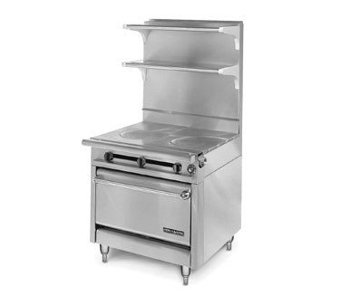 """American Range HD34-2FT-O Medallion Series 34"""" Heavy Duty Range with (2) French Top and Storage Base"""