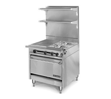 "American Range HD34-2HT-2-1C Medallion Series 34"" Heavy Duty Range with (2) Even Heat Hot Top and Two Open Burners and Convection Oven"