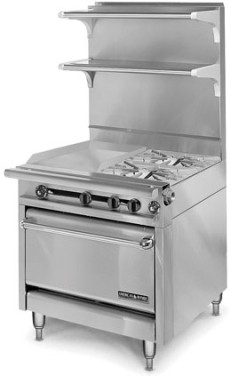 "American Range HD34-2HT-2-1  Medallion Series 34"" Heavy Duty Range with (2) Even Heat Hot Top and Two Open Burners and Standard Oven"