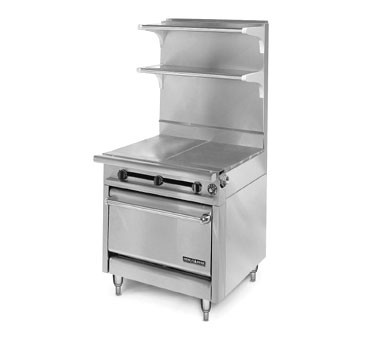 "American Range HD34-2HT2-1C Medallion Series 34"" Heavy Duty Range with (2) 17"" Even Heat Hot Top and 2 Open Burners and Convection Oven"