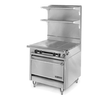 "American Range HD34-3HT-O Medallion Series 34"" Heavy Duty Range with (3) Even Heat Hot Top and Storage Base"