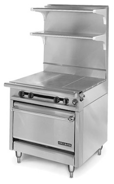 "American Range HD34-3HT3-O Medallion Series 34"" Heavy Duty Range with (3) Even Heat Hot Top and (3) Open Burners and Storage Base"