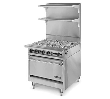 "American Range HD34-6-O Medallion Series 34"" Heavy Duty Range with 6 Open Burners and Storage Base"