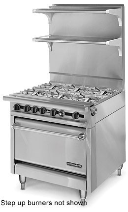 "American Range HD34-6SU-1 Medallion Series 34"" Heavy Duty Range with 6 Step Up Burners and Standard Oven"