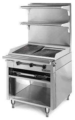 American Range HD34-CRBR-O Medallion Heavy Duty Range Match Charbroiler with Rack Storage Base