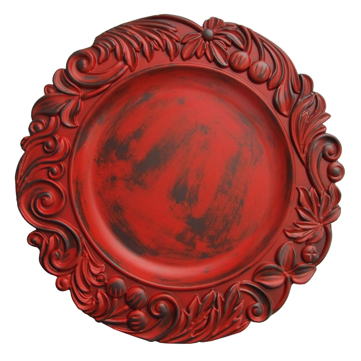 The Jay Companies 1320272 Round Red Aristocrat Charger Plate 14""