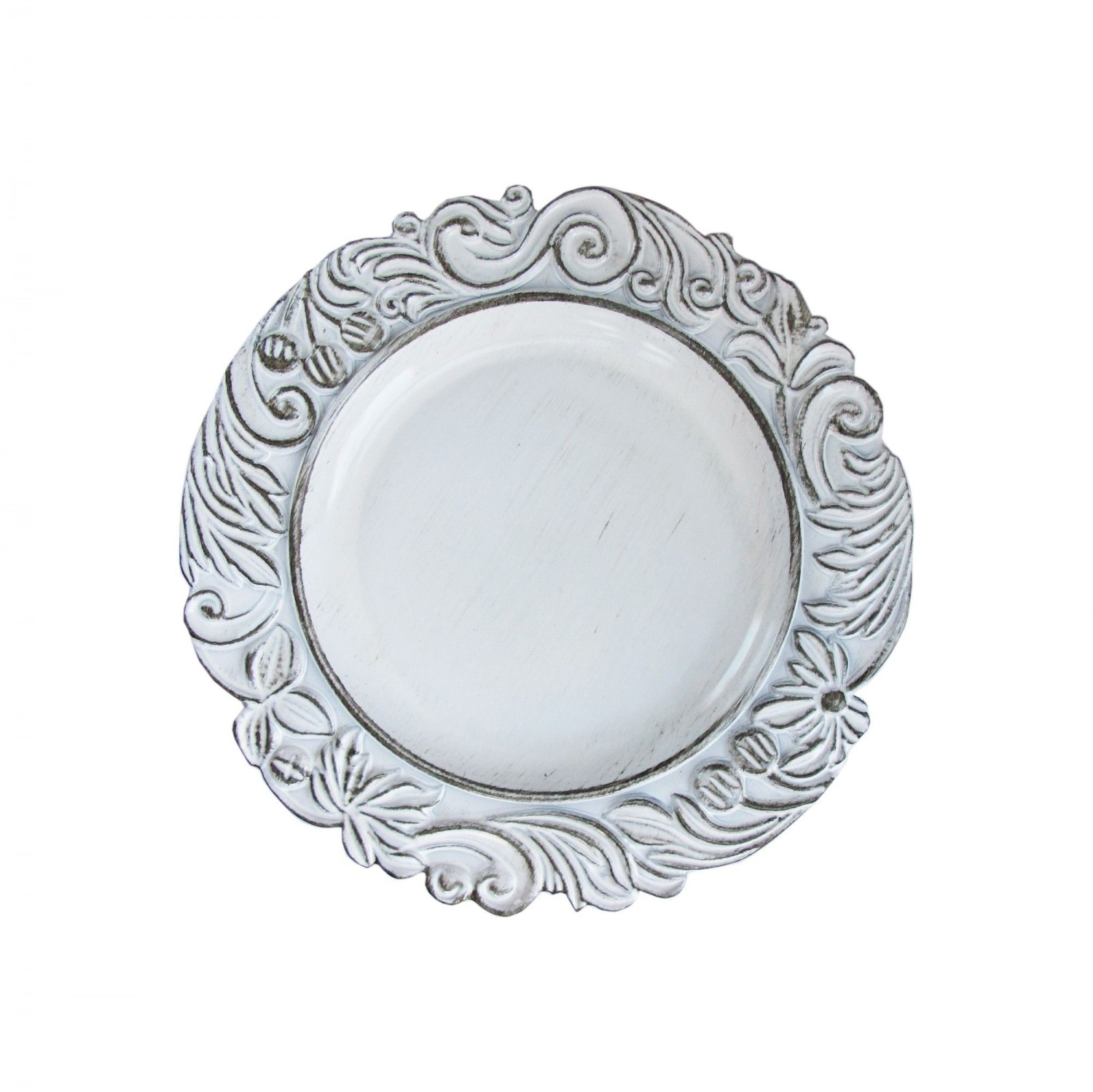 The Jay Companies 1270283 Round White Aristocrat Antique Charger Plate 14""