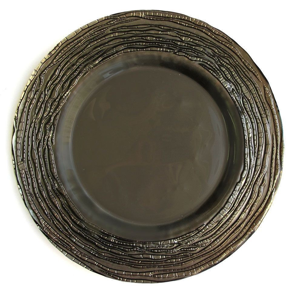 The Jay Companies 1470322 Arizona Gray Glass Charger Plate 13""