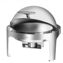 Stainless Steel Full Size Roll Top Round Chafer, 6 Qt.
