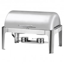 Stainless Steel Full Size Roll Top Oblong Chafer, 8 Qt.