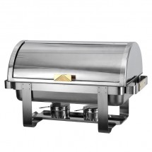 Atosa AT721R61-1 Roll Top Chafing Dish with Gold Accents, 8 Qt.