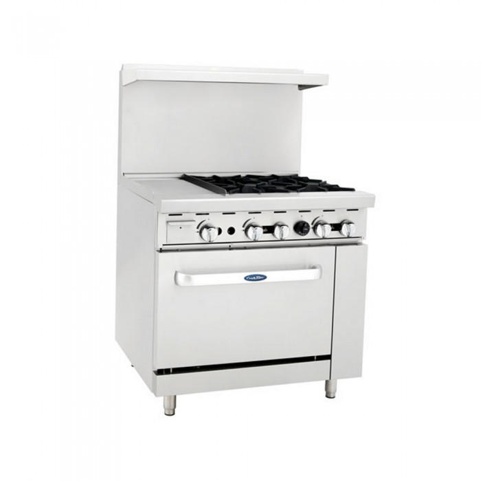 Atosa Ato 12g4b 36 Gas Range With 4 Open Burners And 12 Left Side Griddle