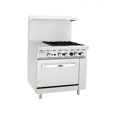 "Atosa ATO-12G4B 36"" Gas Range with (4) Open Burners and 12"" Left Side Griddle, 26 1/2"" Oven"