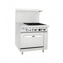 Atosa ATO-12G4B 36 Gas Range with (4) Open Burners and 12 Left Side Griddle, 26 1/2 Oven