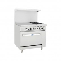 "Atosa ATO-24G2B 36"" Gas Range with (2) Open Burners and 24"" Left Side Griddle, 26 1/2"" Oven"