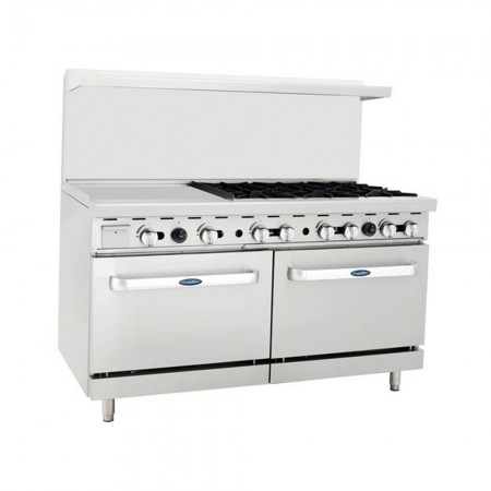 """Atosa ATO-24G6B 60"""" Gas Range with (6) Open Burners and 24"""" Left Side Griddle, (2) 26-1/2"""" Ovens"""