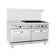 "Atosa ATO-24G6B 60"" Gas Range with (6) Open Burners and 24"" Left Side Griddle, (2) 26-1/2"" Ovens"