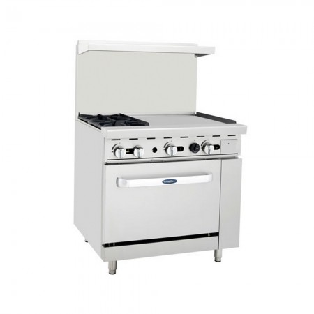 """Atosa ATO-2B24G 36"""" Gas Range with (2) Open Burners and 24"""" Right Side Griddle, 26 1/2"""" Oven"""