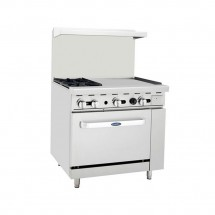 "Atosa ATO-2B24G 36"" Gas Range with (2) Open Burners and 24"" Right Side Griddle, 26 1/2"" Oven"