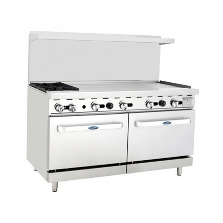 "Atosa ATO-2B48G 60"" Gas Range with (2) Open Burners and 48"" Right Side Griddle, (2) 26 1/2"" Ovens"