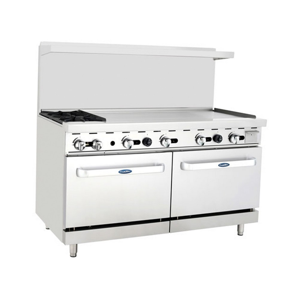 Atosa ATO-2B48G 60 Gas Range with (2) Open Burners and 48 Right Side Griddle, (2) 26 1/2 Ovens