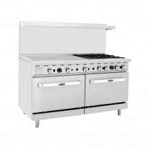 "Atosa ATO-36G4B 60"" Gas Range with (4) Open Burners and 36"" Left Side Griddle, (2) 26 1/2"" Ovens"