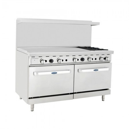 """Atosa ATO-48G2B 36"""" Gas Range with (2) Open Burners and 48"""" Left Side Griddle, (2) 26 1/2"""" Ovens"""