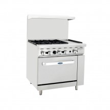 "Atosa ATO-4B12G 36"" Gas Range with (4) Open Burners and 12"" Right Side Griddle, 26 1/2"" Oven"