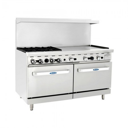 """Atosa ATO-4B36G 60"""" Gas Range with (4) Open Burners and 36"""" Right Side Griddle, (2) 26 1/2"""" Ovens"""