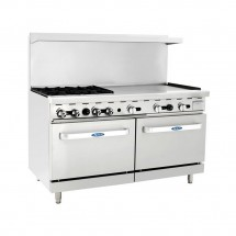 "Atosa ATO-4B36G 60"" Gas Range with (4) Open Burners and 36"" Right Side Griddle, (2) 26 1/2"" Ovens"