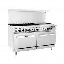 "Atosa ATO-6B24G 60"" Gas Range with (6) Open Burners and 24"" Right Side Griddle, (2) 26 1/2"" Ovens"