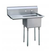 "Atosa MRSA-1-L 39"" 1-Compartment Sink with Left Drainboard"
