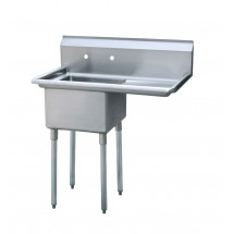 "Atosa MRSA-1-R 39"" 1-Compartment Sink with Right Drainboard"