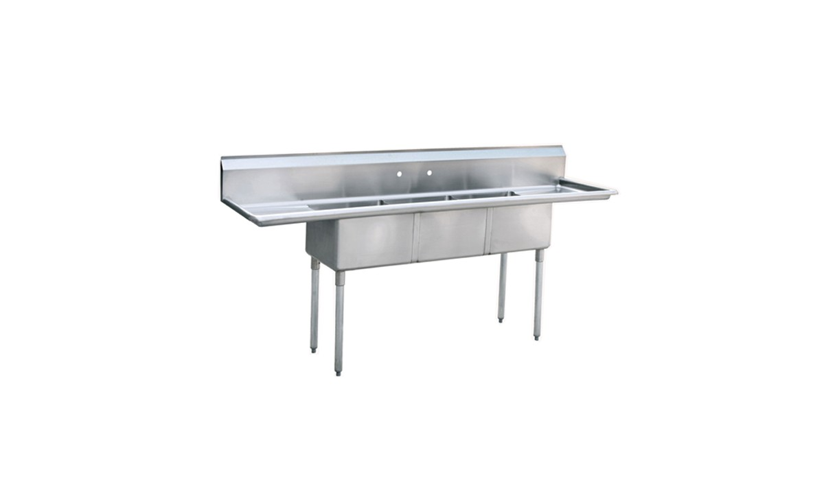 Atosa MRSA 3 D 90u0026 3 Compartment Sink With 2 Drainboards