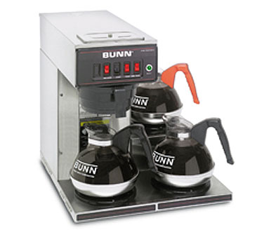BUNN 12950.0112 12 Cup Automatic Coffee Brewer with 3 Lower Warmers and Plastic Funnel - 120V