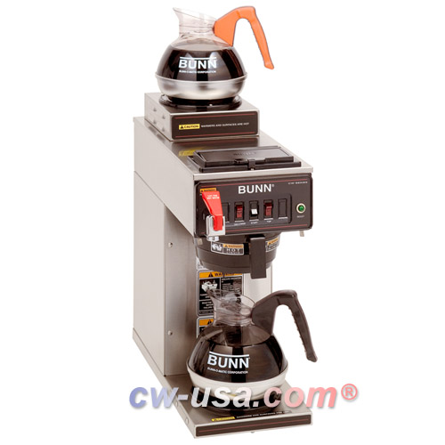 BUNN 12950.0211 12 Cup Automatic Coffee Brewer with 1 Lower and 1 Upper Warmer and Plastic Funnel - 120V