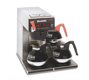 BUNN 12950.0216 12 Cup Automatic Coffee Brewer with 3 Lower Warmers and Stainless SteelFunnel - 120V