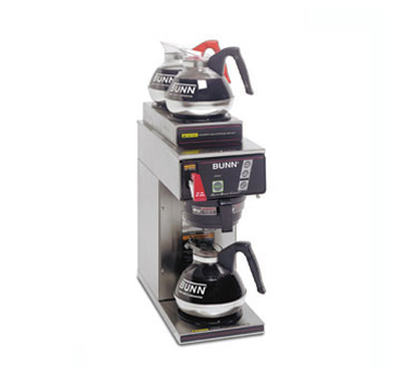BUNN 12950.0261 12 Cup Automatic Coffee Brewer with 1 Lower and 2 Upper Warmers and a Stainless Steel Funnel - 120/240V