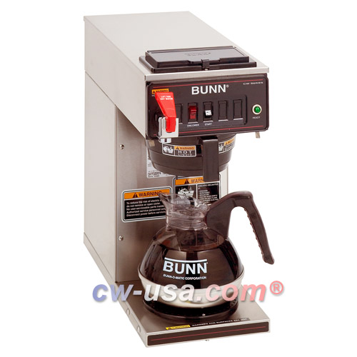 BUNN 12950.0293 12 Cup Automatic Coffee Brewer with 1 Lower Warmer and a Plastic Funnel - 120V