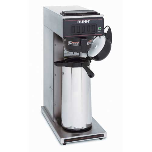 BUNN 23001.0003 Pourover Airpot Coffee Brewer with Plastic Funnel, Stainless Steel