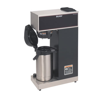 BUNN 33200.0010 Pourover Airpot Coffee Brewer with Plastic Funnel and SplashGard, Stainless Steel and Black