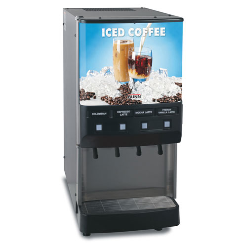BUNN 37300.0016 Silver Series 4-Flavor Cold Beverage Iced Coffee Dispenser with Cold Water Tap