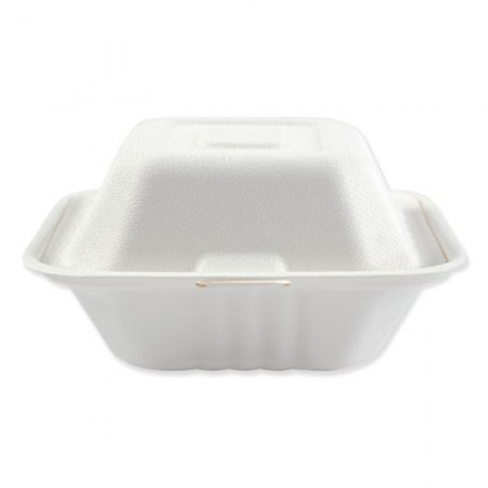 """Bagasse Molded Fiber 1-Compartment White Food Containers, Hinged-Lid, 6"""" x 6"""", 500/Carton"""