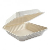 """Bagasse Molded Fiber 1-Compartment White Food Containers, Hinged-Lid, 9"""" x 9"""" 200/Carton"""