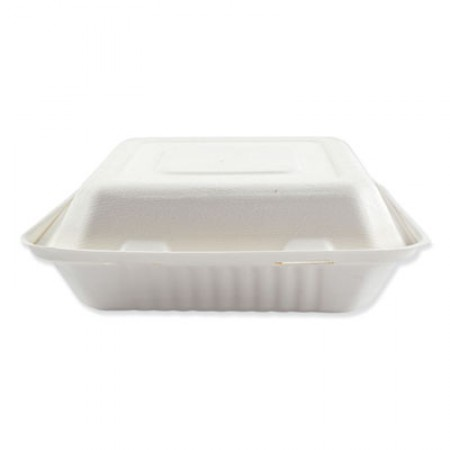 Bagasse Molded Fiber Food Containers, Hinged-Lid, 3-Compartment 9 x 9, White, 100/Sleeve, 2 Sleeves/Carton